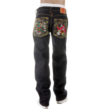 RMC Martin Ksohoh Fujin and Raijin Embroidered 11 Dark Indigo Raw Selvedge Vintage Cut Denim Jeans REDM2900