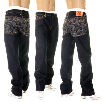 RMC Mens Dark Indigo Vintage Cut Silver Tsunami Wave embroidered Super Exclusive Raw Denim Jeans REDM6217
