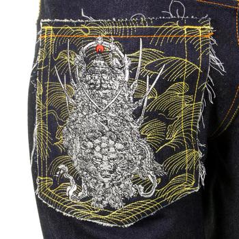 RMC Martin Ksohoh Vintage Cut Gold and Silver 4 Face God symbol Embroidered Dark Indigo Raw Denim Jeans REDM5638