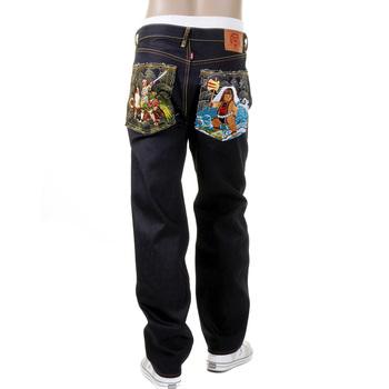 RMC Jeans Mens Dark Indigo Slim Fit Selvedge Raw Denim Jeans with Genius Hero Momotaro2 Embroidery REDM2702