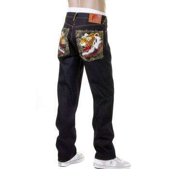 RMC Martin Ksohoh Embroidered Vintage Tiger Face Slimmer Cut 1001 Model Dark Indigo Raw Denim Jeans REDM2697