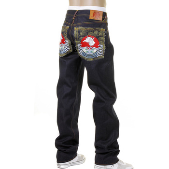 RMC Martin Ksohoh 1001 Slimmer Cut Mens Cotton Dark Indigo Raw Denim Jeans with Magic Rabbit Embroidery REDM0004