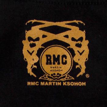 RMC Martin Ksohoh Black Short Sleeve Regular Fit Crew Neck T-shirt with God Bless U Print for Men REDM3968