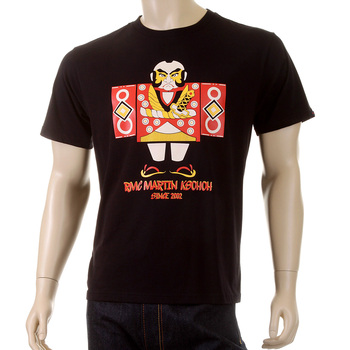 RMC Martin Ksohoh Crew Neck Short Sleeve Black Regular Fit Japan Man Doll Printed T-shirt for Men SKU-REDM3969
