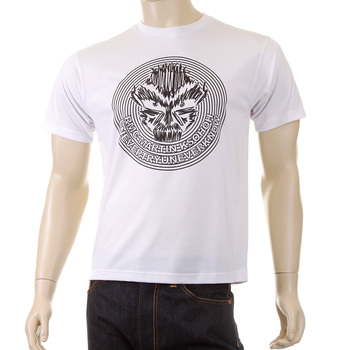 RMC Martin Ksohoh Crew Neck White Cotton Regular Fit Cyber Monkey Printed T Shirt for Men REDM5030
