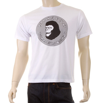 RMC Martin Ksohoh Crew Neck Cotton Regular Fit Short Sleeved Mens Ape Cope Printed T-shirt in White REDM5034