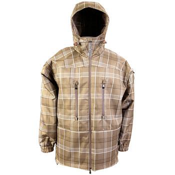Yoropiko Martin Yat Ming Mens Coffee Coloured Checked Regular Fit Hooded Functional Jacket REDM3160