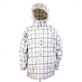 Yoropiko Red Monkey Company White Grey Check Regular Fit Hooded Functional Jacket REDM3169