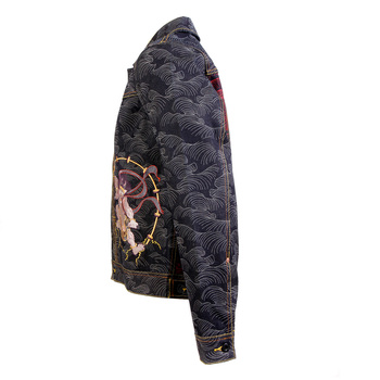 RMC Jeans Genuine Exclusive Vintage Cut Raw Selvedge Denim Jacket with Fujin and Raijin Embroidery REDM3852