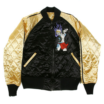 Yoropiko x RMC Gold and Black Quilted Souvenir Jacket Blouson with 4A Hero Embroidery YORO2140