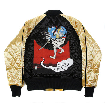 Yoropiko x RMC Jeans Reversible Embroidered 4A Hero Souvenir Jacket with Quilted Black Body and Gold Sleeves YORO2140A