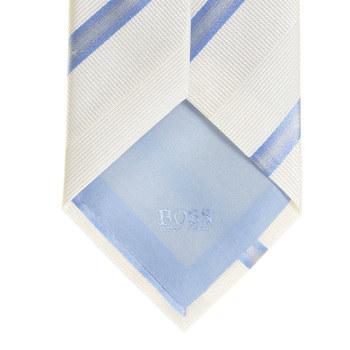 Hugo Boss Tie ivory with blue silk tie 50200419 BOSS1585