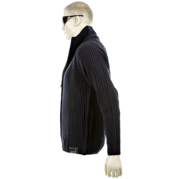 Thug or Angel Men's Jet Black collection  navy full zip knitted cardigan. JBLK3882