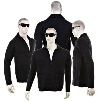 Thug or Angel Men's Jet Black collection  black zip-up showl collar knitted cardigan. JBLK3899