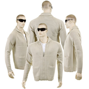 Thug or Angel sweater Men's Jet Black collection  beige zip-up  showl collar knitted cardigan. JBLK3906