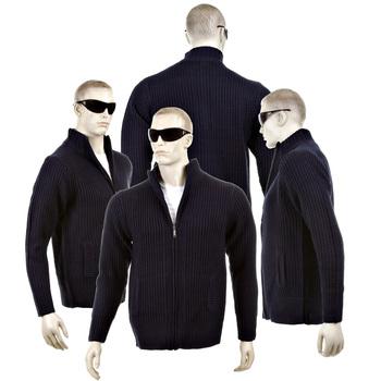 Thug or Angel Sweater Men's Jet Black collection navy full zip ribbed knit cardigan. JBLK3929