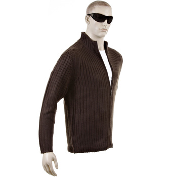 Thug or Angel Sweater Men's Jet Black collection chocolate brown ribbed zip up cardigan. JBLK3939