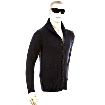 Thug or Angel Men's Jet Black collection navy button up showl collar knitted cardigan. JBLK3941