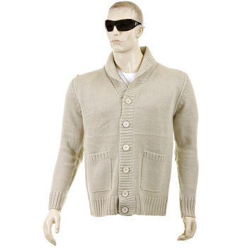 Thug or Angel Sweater Men's Jet Black collection beige button up showl collar knitted cardigan. JBLK3943