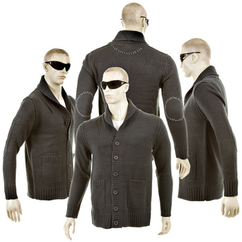 Thug or Angel Sweater Men's Jet Black collection charcoal button up showl collar knitted cardigan. JBLK3944.