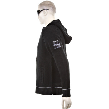 Thug or Angel Sweater Men's Jet Black collection knitted black hooded zip-up cardigan. JBLK3948