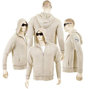 Thug or Angel Men's Jet Black collection knitted beige hooded zip-up cardigan. JBLK3952