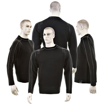 Thug or Angel Sweater men's Jet Black collection black crew neck knitted jumper. JBLK3953.