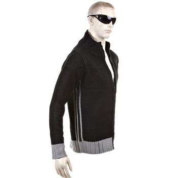 Thug or Angel Sweater Men's Jet Black collection knitted black/grey trim zip-up cardigan. JBLK3956