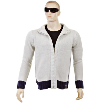 Thug or Angel Sweater Men's Jet Black collection knitted putty/navy trim zip-up cardigan. JBLK3958
