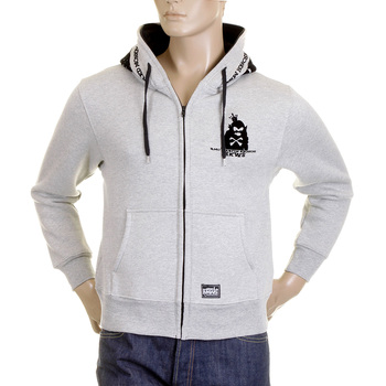RMC MKWS Hooded Zipped Regular Fit Mens Marl Grey Sweatshirt with Front Pouch Pockets REDM2343