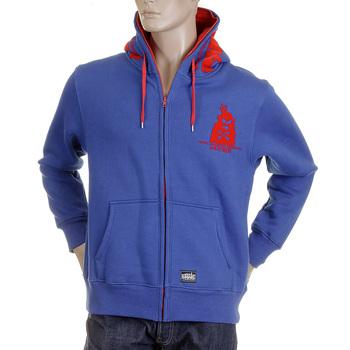 RMC MKWS Hooded Zipped Royal Blue Red Flock Printed Regular Fit Sweatshirt for Men REDM2338