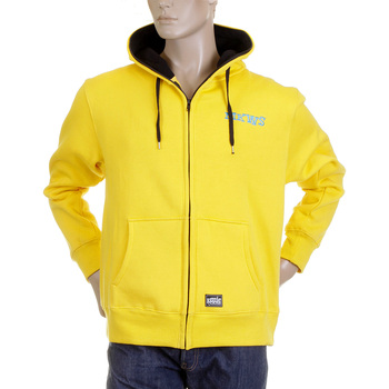 RMC Martin Ksohoh MKWS Mens Regular Fit Hooded Yellow Laurel Leaf Printed Zip Up Sweatshirt REDM2321
