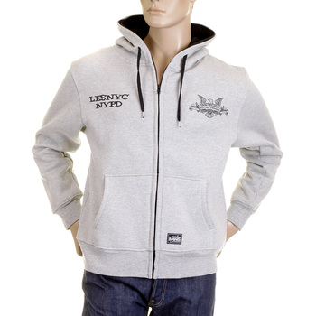 RMC MKWS Mens Regular Fit Hooded Marl Grey NYPD USA Eagle Printed Zip Up Sweatshirt REDM2335