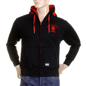 RMC MKWS Regular Fit Hooded Zipped Black Sweatshirt with Empire Monkey Flock Print REDM2329