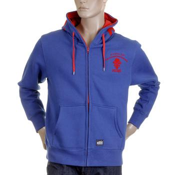 RMC Martin Ksohoh MKWS Regular Fit Hooded Zipped Blue Sweatshirt with Empire Monkey Flock Print REDM2328