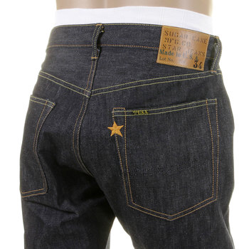 Sugarcane Slimmer Fitting SC40724N Navy Japanese Selvedge Star Denim Non Wash Jeans for Men CANE2833