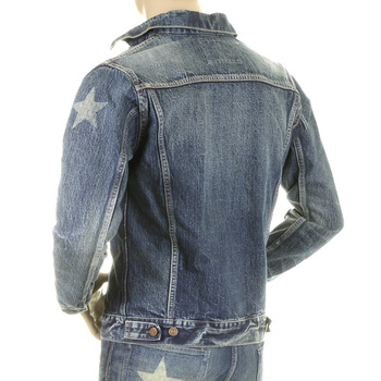 Sugarcane Mens SC11901H Lone Star Light Hard Wash Denim Jacket with Whiskering and Fading CANE2829