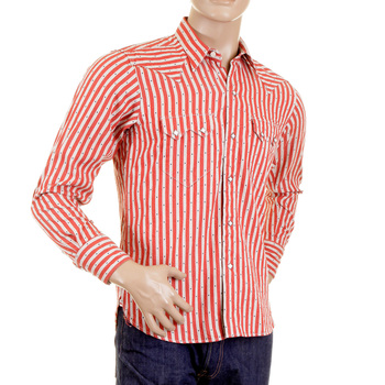 Sugarcane Regular Fit SC25369 Star Dobby Striped Red and Off White Long Sleeve Shirt CANE2280
