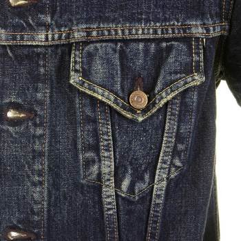 Sugarcane Mens SC11901H Dark Hard Wash Lone Star Denim Jacket with Aged and Worn Out Finish CANE2822