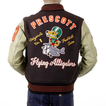 Whitesville Brown Wool Body Dark Cream Leather Sleeve WV12077 Regular Fit Flying Alligators Stadium Jacket CANE2101