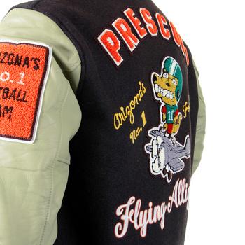Sugarcane Mens Letterman WV12077 Melton Wool Brown and Dark Cream Flying Alligators stadium Jacket CANE2101A