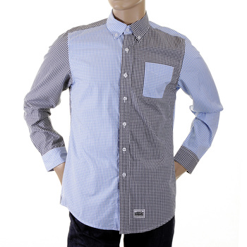 RMC MKWS Long Sleeved Soft Button Down Collar Regular Fit Blue and Black Patch Shirt for Men REDM2109