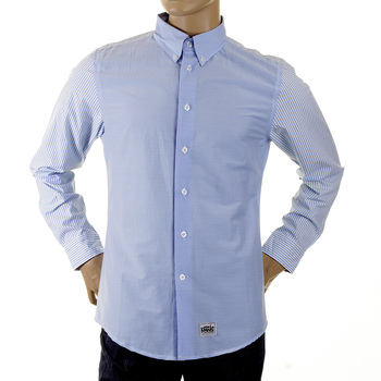 RMC Martin Ksohoh MKWS Blue Striped Patch Sleeve Regular Fit Button Down Collar Shirt for Men REDM2110