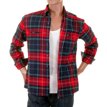 RMC Martin Ksohoh MKWS Regular Fit Long Sleeve Button Down Collar Red Checked Shirt for Men REDM2296