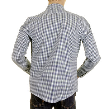 RMC Martin Ksohoh MKWS Mens Navy Check Soft Penny Collar Long Sleeve Regular Fit Shirt REDM2309