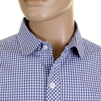 RMC Martin Ksohoh MKWS Mens Blue Check Soft Penny Collar Long Sleeve Regular Fit Shirt REDM2310