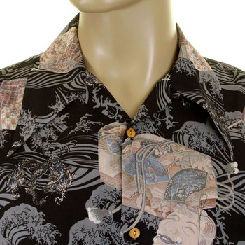 RMC Jeans Short Sleeved Regular Fit Printed Hawaiian Shirt in Navy REDM0907