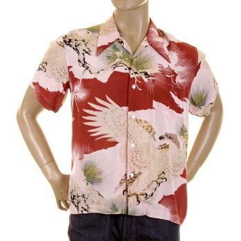 RMC Jeans Regular Fit Short Sleeve Japanese Eagle in Leaf Printed Shirt for Men REDM0916