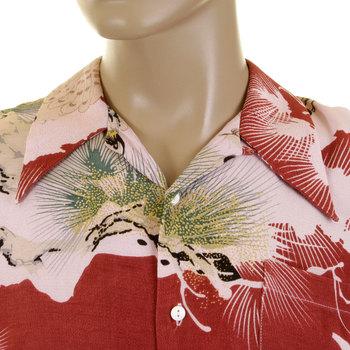 RMC Martin Ksohoh Mens Short Sleeve Regular Fit Pink Shirt with Japanese Eagle in Leaf Print REDM0916