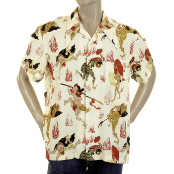 RMC Jeans Short Sleeve Regular Fit Yellow Japanese Ghost Printed Shirt for Men REDM0909